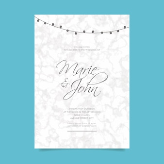 Wedding invitation with marble texture