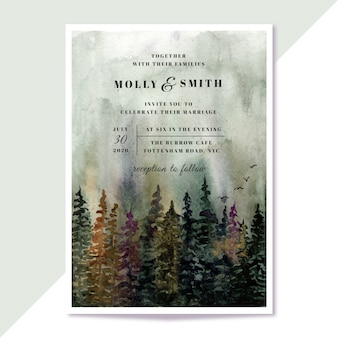 Wedding invitation with misty forest landscape watercolor