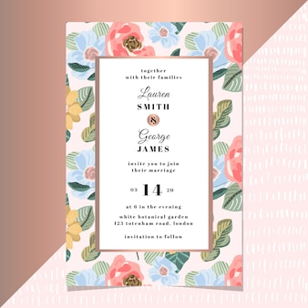 Wedding invitation with modern floral background