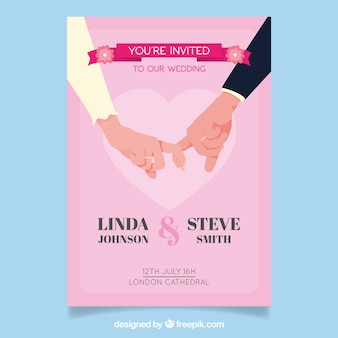 Wedding invitation with newlyweds' hands