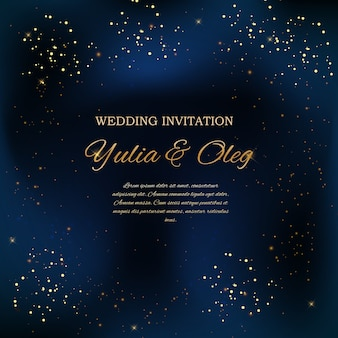 Wedding invitation with night sky and stars background.
