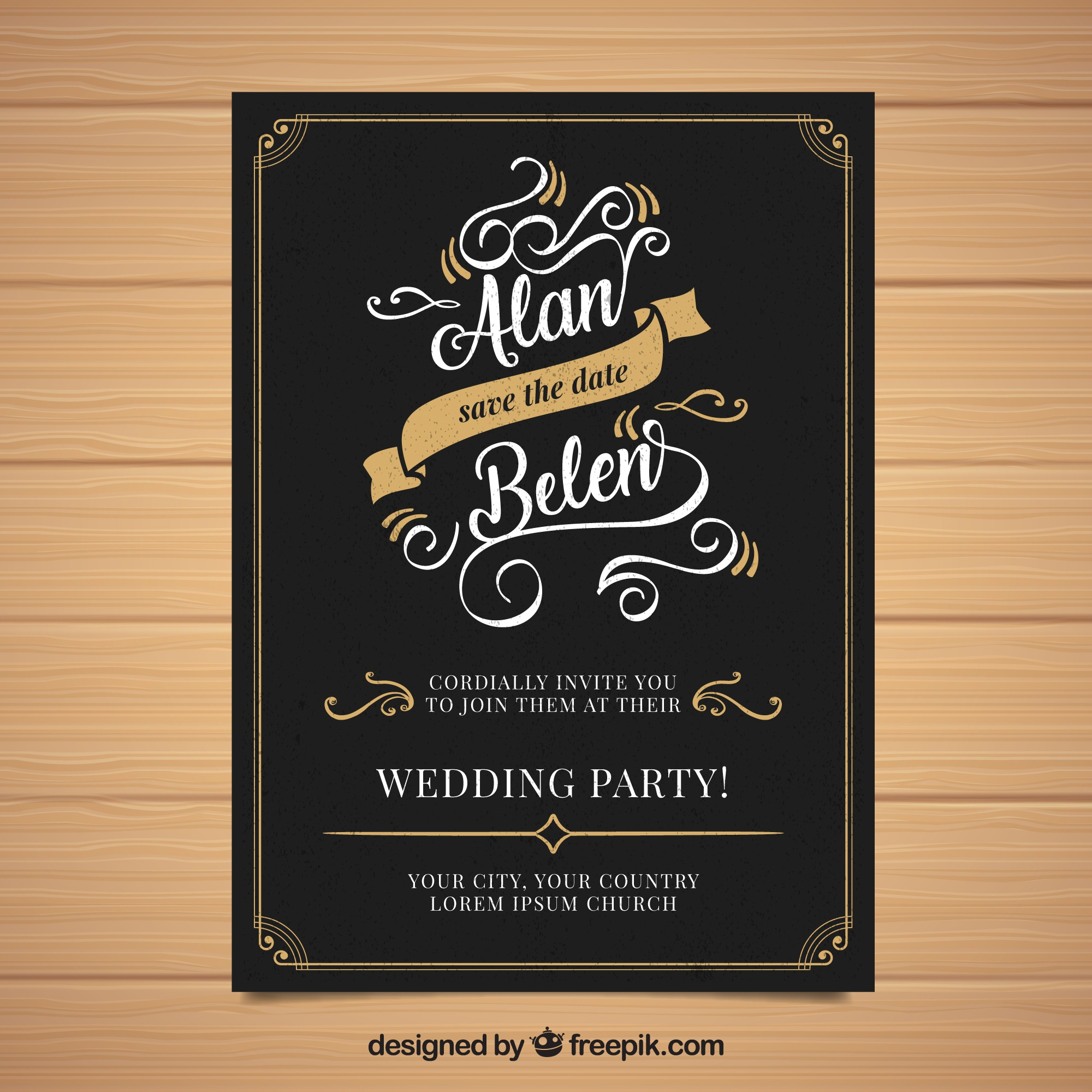 Wedding invitation with ornaments in vintage style