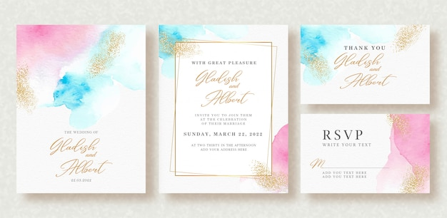 Wedding invitation with pastel colors splash and gold sparkle
