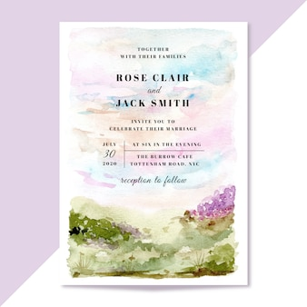 Wedding invitation with pastel landscape watercolor