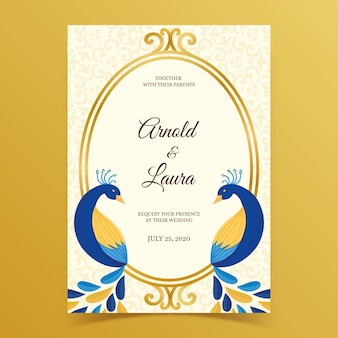 Wedding invitation with peacock feathers