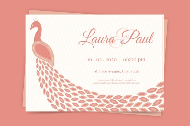 Wedding invitation with a peacock