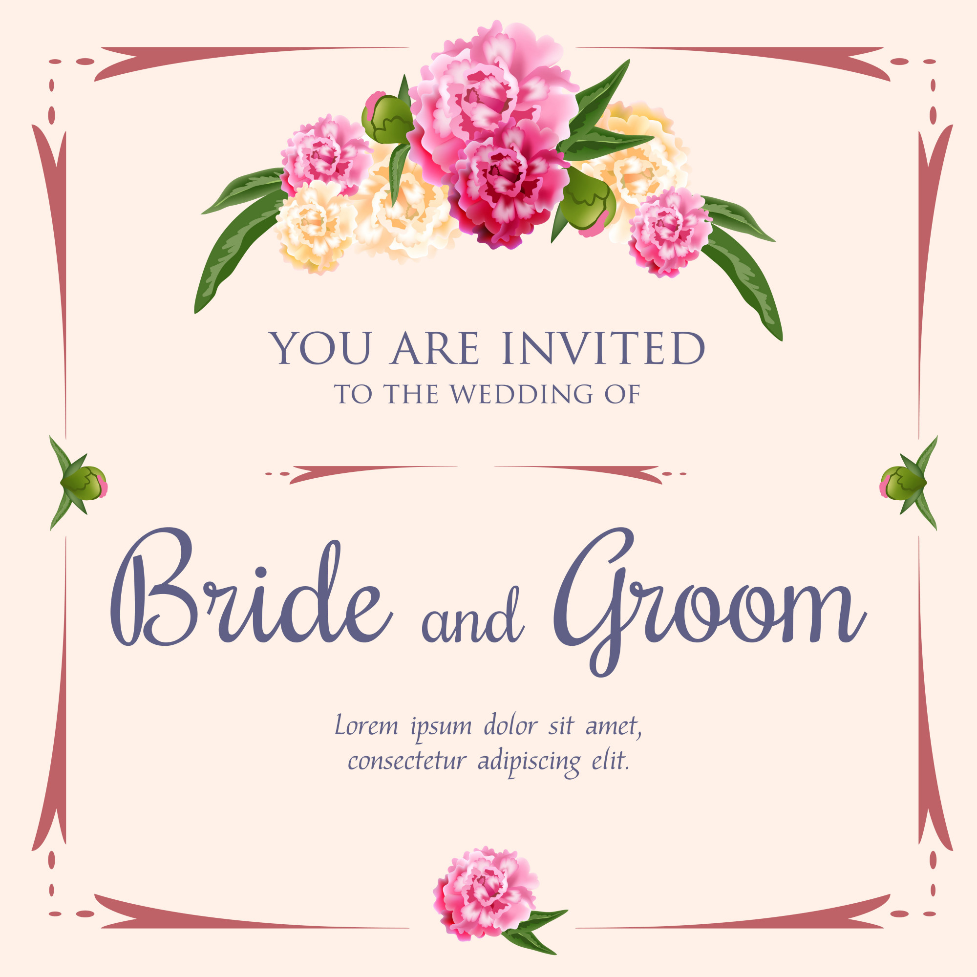 Wedding invitation with peonies and frame on pink background.