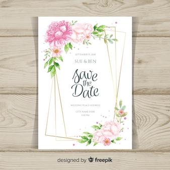 Wedding invitation with peony flowers