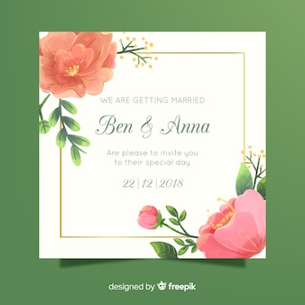 Wedding invitation with peony flowers