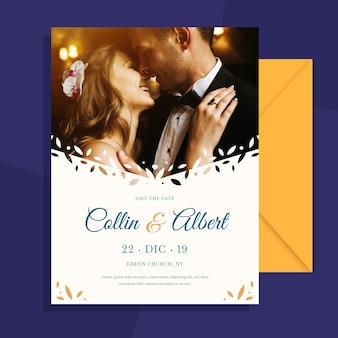 Wedding invitation with photo of lovely couple