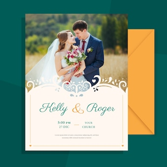 Wedding invitation with photo of married couple template