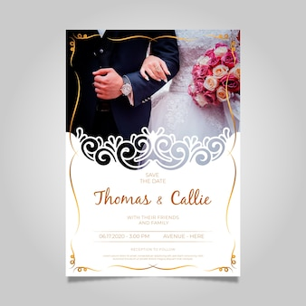 Wedding invitation with photo template