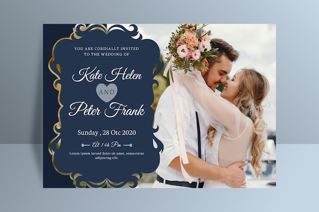 Wedding invitation with photo template