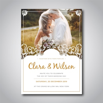 Wedding invitation with pic template