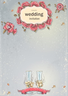 Wedding invitation with a picture of wedding glasses