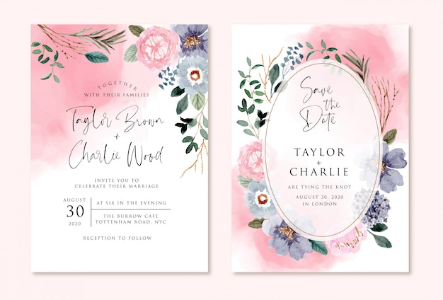 Wedding invitation with pink blue floral watercolor