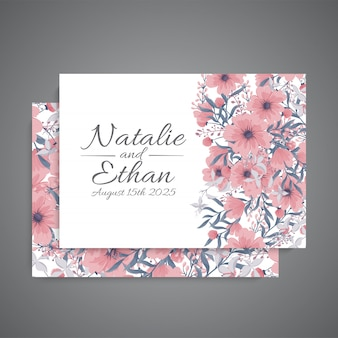 Wedding invitation with pink flower