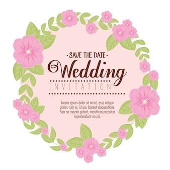 분홍색 꽃과 잎으로 웨딩 초대장