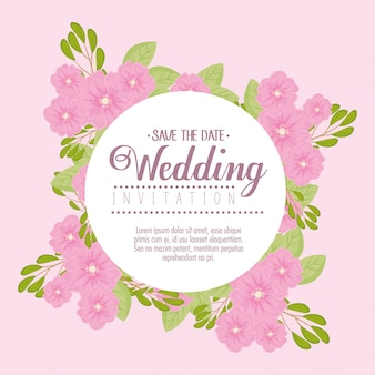 Wedding invitation with pink flowers and leaves