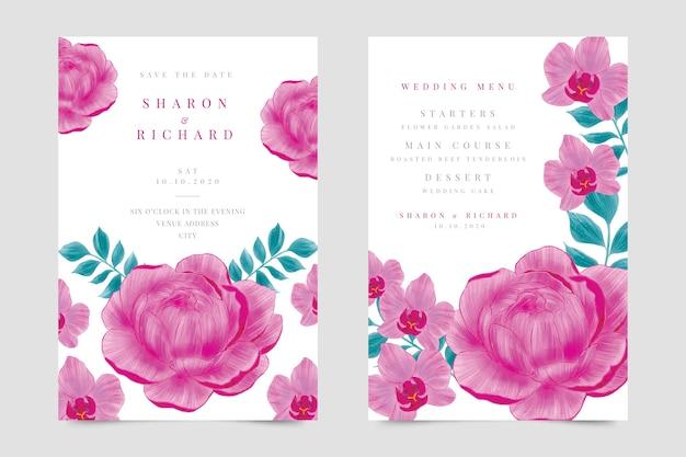 핑크 꽃 결혼 초대장