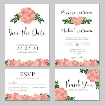 Wedding invitation with pink hydrangea flower