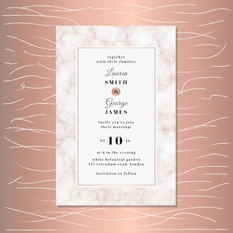 Wedding invitation with pink marble texture background