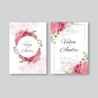 ピンクの牡丹の花の飾りとゴールドフレームの結婚式の招待状
