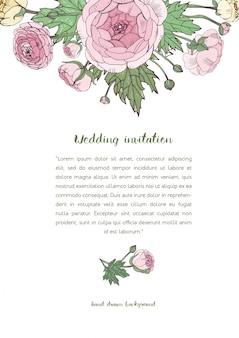 Wedding invitation with pink ranunculus flowers