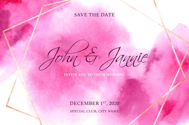 Wedding invitation with pink watercolor stains