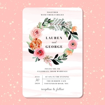 Wedding invitation with pretty flower wreath watercolor