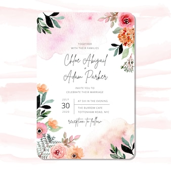 Wedding invitation with pretty watercolor floral frame