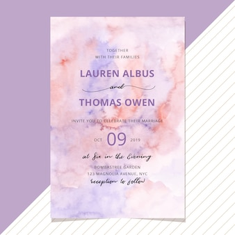 Wedding invitation with purple blush watercolor background