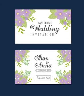 보라색 꽃과 잎으로 웨딩 초대장