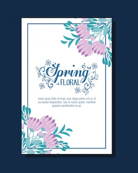 Wedding invitation with purple flowers and leaves