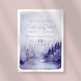 紫色の丘の風景と結婚式の招待状