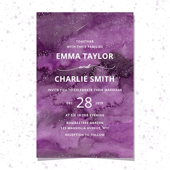 Wedding invitation with purple watercolor background
