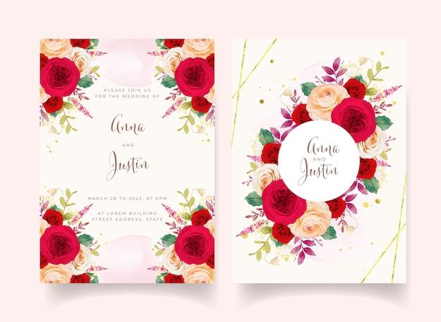 빨간 장미 꽃과 청첩장