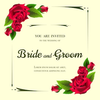 Wedding invitation with red roses on yellow background.