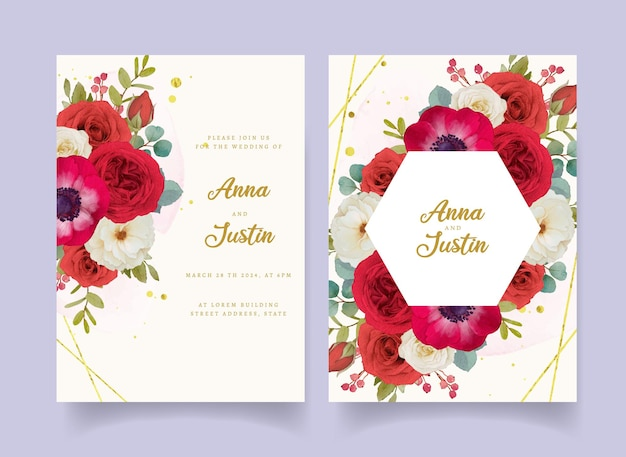 赤い水彩花と結婚式の招待状