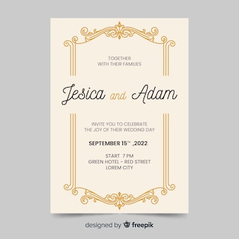 Wedding invitation with retro design