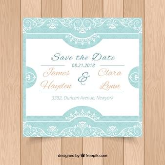 Wedding invitation with retro ornaments