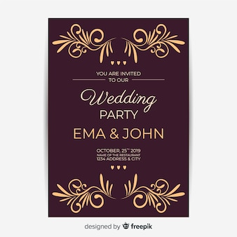 Wedding invitation with retro template