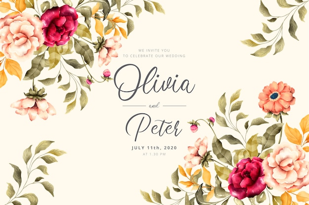 Wedding invitation with romantic flowers