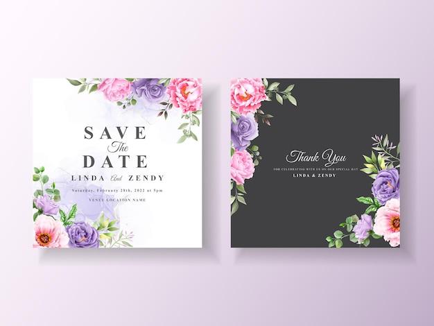 Свадебное приглашение с романтической цветочной акварелью