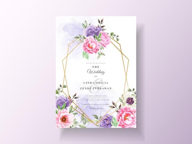 Свадебное приглашение с романтической цветочной акварелью Premium векторы