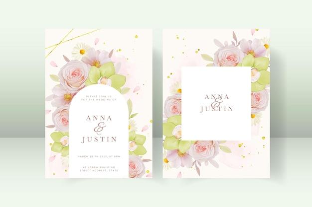 장미와 녹색 난초와 웨딩 초대장