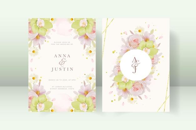 バラと緑の蘭の結婚式の招待状