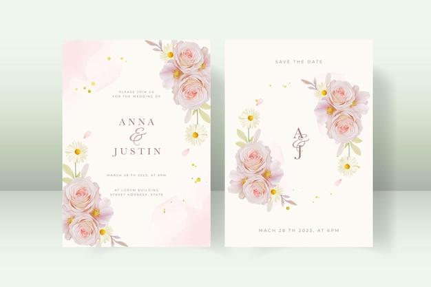 バラの花と結婚式の招待状