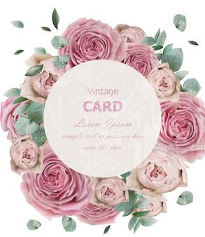 Wedding invitation with roses wreath