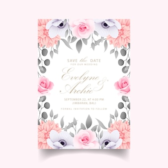 Wedding invitation with roses